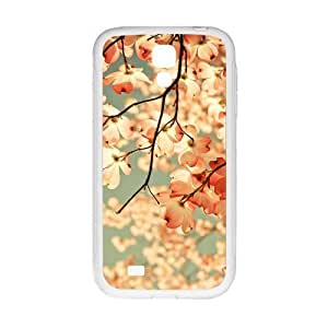 Fashion Japanese Cherry Blossom of Design White Stylish Cover Case For Samsung I9500 GALAXY S4 with high-quality Plastic