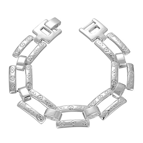 AmDxD Jewerly Gold Plated Men Women Link Bracelet Silver Hollow Rectangle 8Inch,as Best Gift