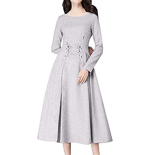 Opeer Hot! Women Sexy Waistband Belted Long Sleeve Dress Slim Pleated Maxi Dress (Gray, ()