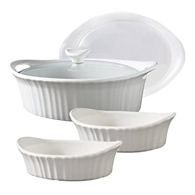 Corningware French White Stoneware 5 Piece Bakeware Set