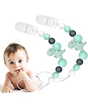 Pacifiers Clips Holder, 2Pcs Silicone Teething Beads for Boys and Girls Fits Most Pacifier Styles,Teething Toys, Soothie and Pacifier Clips for Boys And Girls(Green)