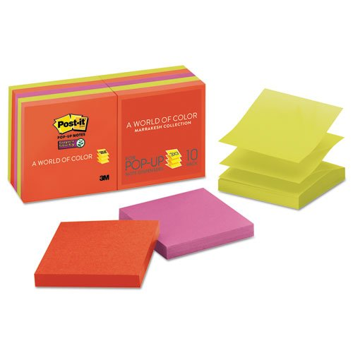 (3M Post-It SS Pop-Up Notes, 3 x 3, Marrakesh Colors, 10 Pads/Pack (R33010SSAN))