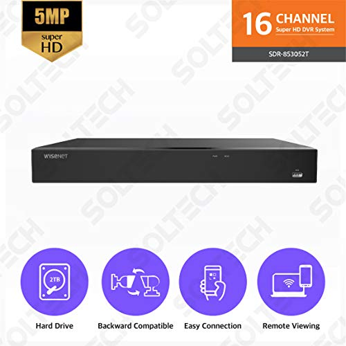 (Wisenet SDR-853052T 16 Channel Super HD Video Security DVR with 2TB Hard Drive )