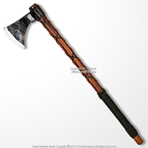 "Medieval Gears Brand 26"" Steel Viking Axe Medieval Renaissance Hatchet Solid Wood Handle LARP Cosplay"