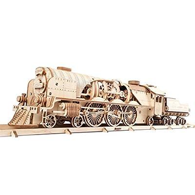 Ugears 70058 3d Express Set Di Puzzle In Legno Con Modellino Di Locomotiva A Vapore