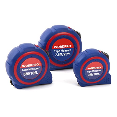 WORKPRO W002400A 3-piece Tape Measure Set, Metric and SAE...