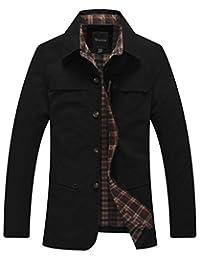Wantdo Men's Turn-down Collar Solid Cotton Jacket