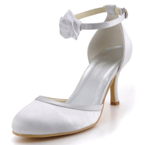 ElegantPark EL-0114 Mujer Tacón de Aguja Correa de Tobillo Flores Satén Zapatos de Fiesta Boda Blanco