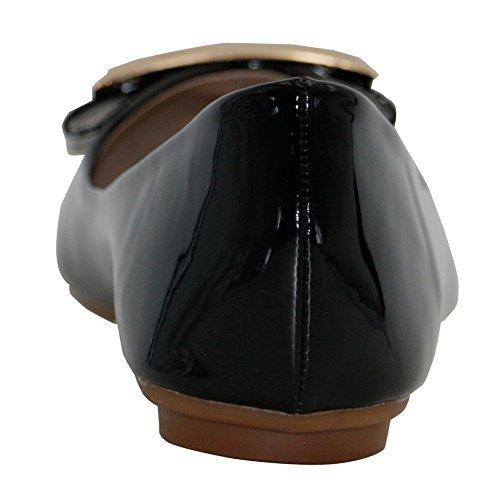 AalarDom Mujer Sin cordones Puntiagudo Material Suave Sólido De salón Negro-Hebilla