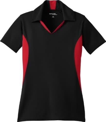Sport-Tek - Ladies Side Blocked Micropique Sport-Wick Polo. LST655 - Black/Red_L