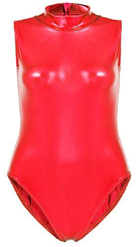 Justincostume (JustinCostume Women's Metallic Sleeveless Turtleneck Leotard Costume M Red)