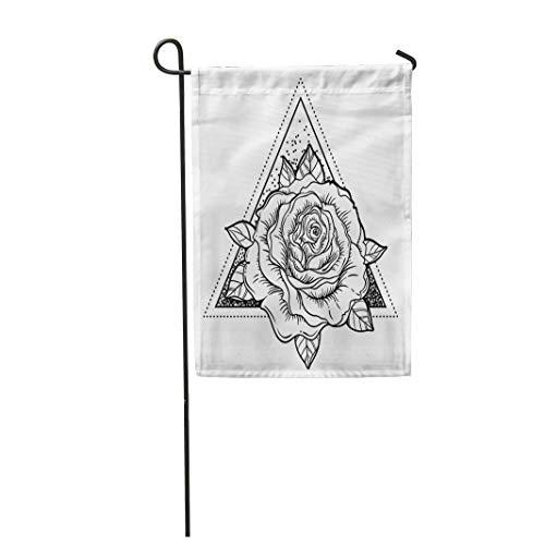 Semtomn Garden Flag Blackwork Tattoo Flash Rose Flower Over Sacred Geometry Highly 12