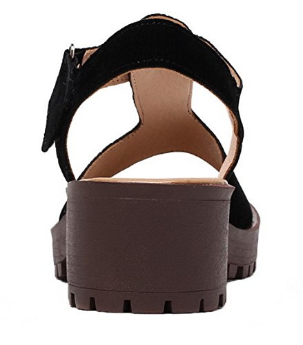 Solid Toe Material Loop Black Sandals Hook Soft Heels Women's WeiPoot Open Kitten Hq5A6zw