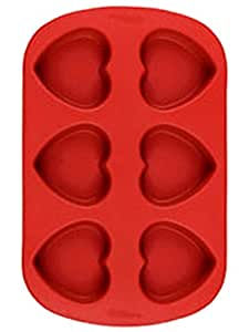 Wilton Molde Silicona 6 Cavidades forma Corazón Cupcake Gelatina Valentine