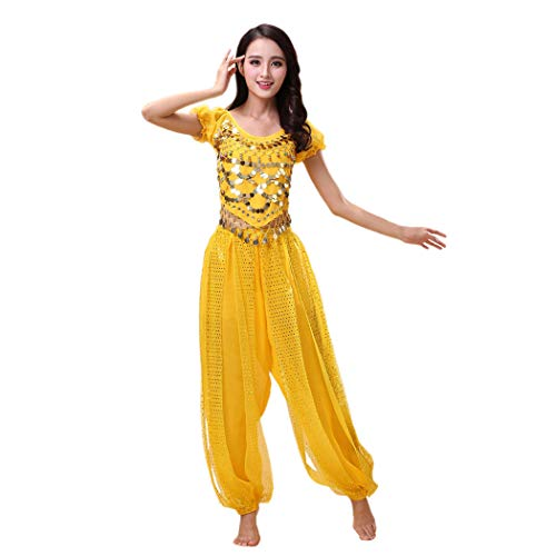 Maylong Women's Harem Pants Belly Dancing Outfit Halloween Costume (Yellow)