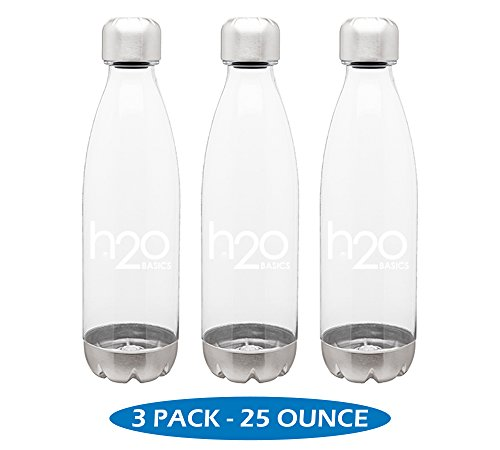 Free Bottle Pack Hydration (H2O Basics BPA-Free Sport Water Bottles 25 oz, Tritan Non Toxic Plastic, Reusable Flask with Stainless Steel Leak Proof Twist Off Cap & Steel Base, Cola Bottle Shape - Clear, 25 Ounces)