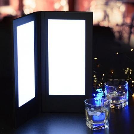 5.5 x11 inches 2-Panel LED Backlit Illuminated Black Leatherette Menu Holder Check Displayer 110V for Dinner Dinning Supper Food Service Café Pub Hotel Resort Bar Bartender Lounge