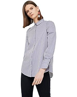 Mango Women's Striped Cotton Shirt