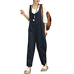 Summer Cotton Linen Jumpsuits Women Sexy Vintage Rompers Sleeveless Backless Playsuits Blue Xl