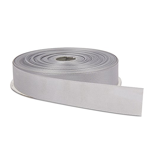 Topenca Supplies 1 Inches x 50 Yards Double Face Solid Grosgrain Ribbon Roll, Silver