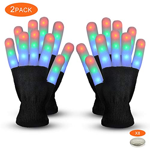 Gimilife Led Gloves, Light Up Gloves,Flashing Warm LED Skeleton Gloves Adult Kids for Birthday Christmas Halloween Club Party Supplies,Finger Light Toys for 4-5 Year Old Boys(2 Pack Black) -