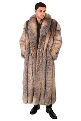 Madison Avenue Mall Mens Real Fox Fur Coat Long Full Length - Crystal Fox SZ 48