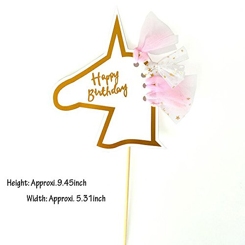 Weisu Happy Birthday Party Supplies Decorations Kit,Include 2 Pcs Glitter Happy Birthday Cake Toppers,36pcs Photo Booth Props ,Unicorn Themed Felt Garland Parties Decor for Girls by Weisu (Image #2)