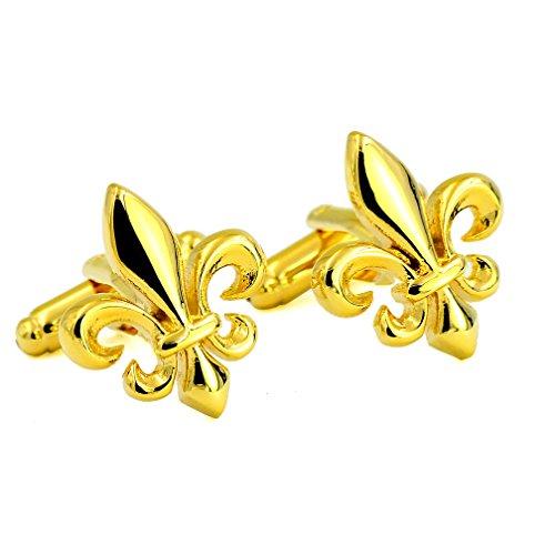 ENVIDIA Fleur De Lys Gold Cufflinks With Gift Box