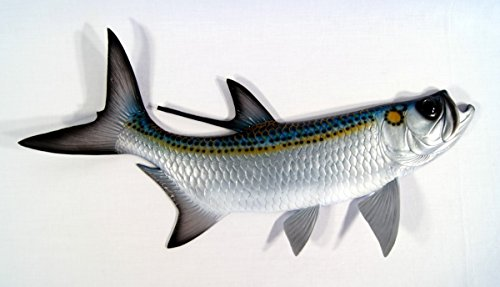 Hand Painted Replica Tarpon Fish Ocean Coastal Fly Game Fishing Wall Mount Decor 28