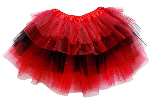So Sydney Adult Plus Kids Size 6 Layer Fairy Tutu Skirt Halloween Costume Dress (XL (Plus Size), Red & Black) ()