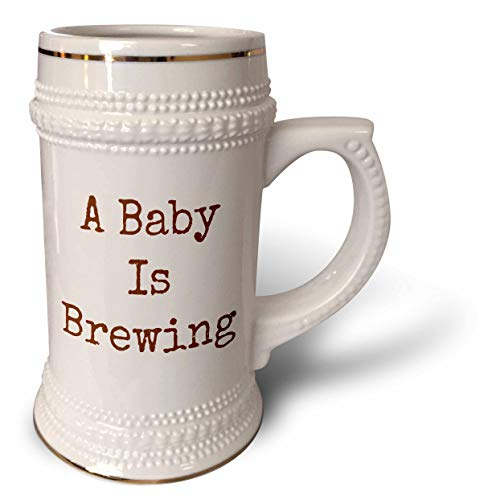 3dRose 3DRose Merchant-Quote - Image of A Baby Is Brewing Quote - 22oz Stein Mug (stn_293451_1)