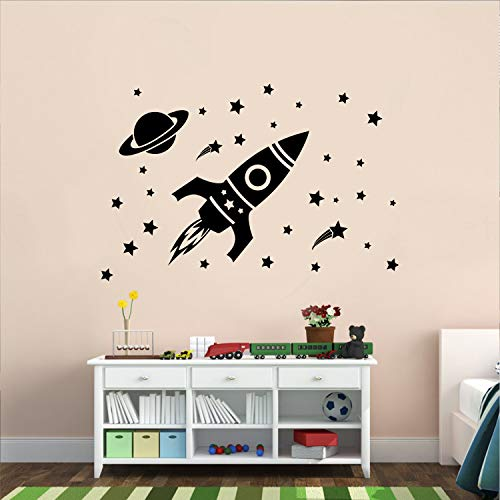 Vinyl Wall Art Decal - Outer Space Set - 26 x 22.5 - Cool Rocket Ship Stars Planet Kids Children Decor for Home Bedroom Playroom Wall Door - Unisex Apartment Nursery School Daycare Decor