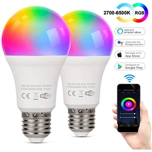 chollos oferta descuentos barato TAOCOCO Bombilla LED inteligente WiFi con luz cálida Luz de color variable 2700k 6200k RGB Compatible con Alexa Echo Google Home e IFTTT E27 9W RGB Color Cambio Bombilla 2 PCS