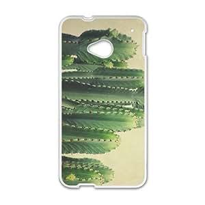 HTC One M7 Phone Case Cover White Green Cactus EUA15979389 Generic Hard Phone Case