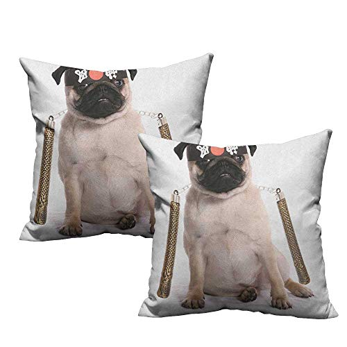 RuppertTextile Breathable Pillowcase Pug Ninja Puppy with Nunchuk Karate Dog Eastern Warrior Inspired Costume Pug Image Anti-Fading W24 xL24 2 -