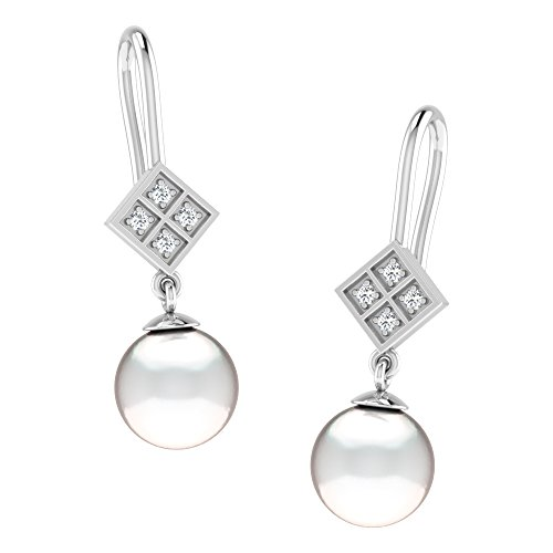 Libertini Boucle d'oreille argent 925 serti de Diamant et Perle Pendre