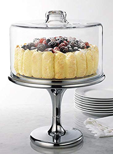 Home Essentials & Beyond Elegant Cake Plate Tray Footed With Dome Cover on Stainless Base 11 in. Dessert Pie, Pastry Cupcake, Pedestal Centerpiece Serving Stand Clear Serving Buffet Set
