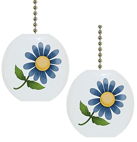 Set of 2 Blue Flower Floral Country Solid Ceramic Fan Pulls ()