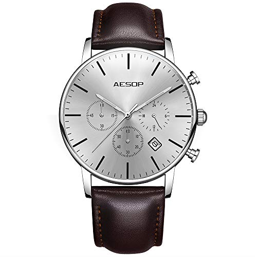 - Aesop Men's Quartz Wrist Watch with Leather Strap Watch Dress Casual Classic Lightweight Wrist Watches for Men (White)