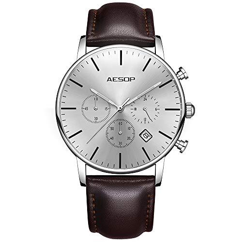 Aesop Men's Quartz Wrist Watch with Leather Strap Watch Dress Casual Classic Lightweight Wrist Watches for Men -