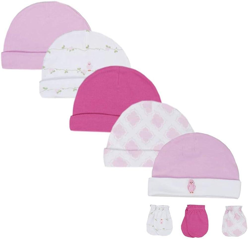 LACOFIA Newborn Baby Boys Girls Cotton Printed Beanie Hat Unisex Infant Top Knot Essential Cap Pack 3