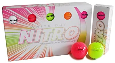 Long Distance Peak Performance Golf Balls (15PK) All Levels-Nitro White Out 70 Compression High Velocity White Hot Core Long Distance Golf Balls USGA Approved-Total of 15-Multi-color