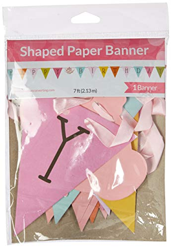 Creative Converting Balloons Tea Time Party Happy Birthday Ribbon Banner, One Size, Multicolor ()