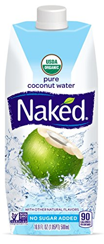 Naked Juice 100% Organic Pure Coconut Water, USDA Organic Certified, NON GMO Project Verified, 16.9 Ounce, 12 Pack (Water 100% Coconut Natural)