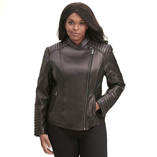 Wilsons Leather Womens Plus Size Vintage Quilted Leather Moto Jacket
