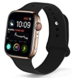 NUKELOLO Sport Band Compatible with Apple Watch 38MM 40MM,Soft Silicone Replacement Strap Compatible for Apple Watch Series 4/3/2/1 [M/L Size in Black Color]
