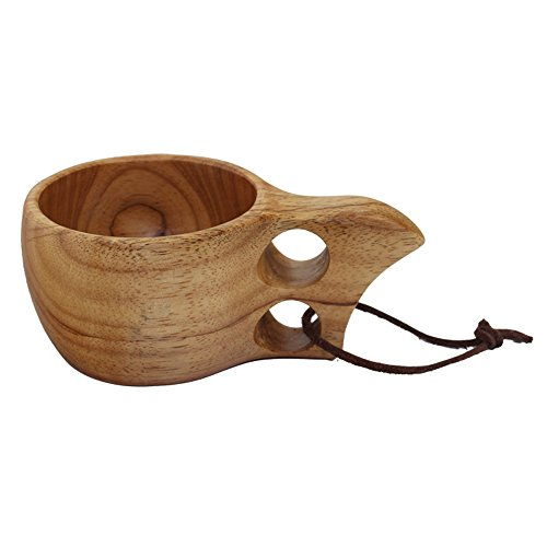 Nature Solid Wood Survival Bushcraft Handmade Camping-Wooden Cup Scandinavian Curly Mug Tea Coffee Milk Cups