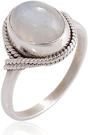925 Sterling Silver White Moonstone Oval Rope Edge Vintage Band Ring Size 6, 7, 8