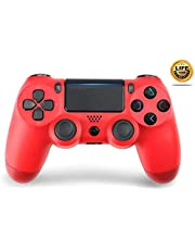 PS4 Controller Wireless Bluetooth Gamepad for Sony Playstation 4 with USB Cable Compatible with Windows PC & Android iOS【Upgraded Version】 RED