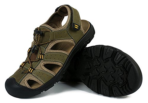 Da Da Cinturino Sandali In E Sandali Con Green Esterno CYGG Uomo Antiscivolo Sportivi Pelle aqFwT